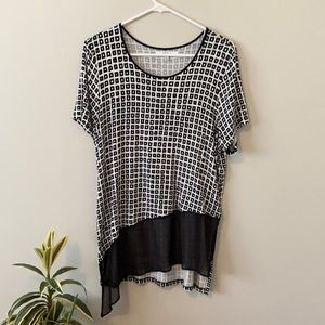 Reed Black and White Blouse, size L